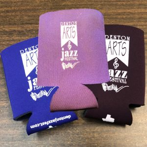 three colors of koozies (small can sized) for 2020 jazz festival